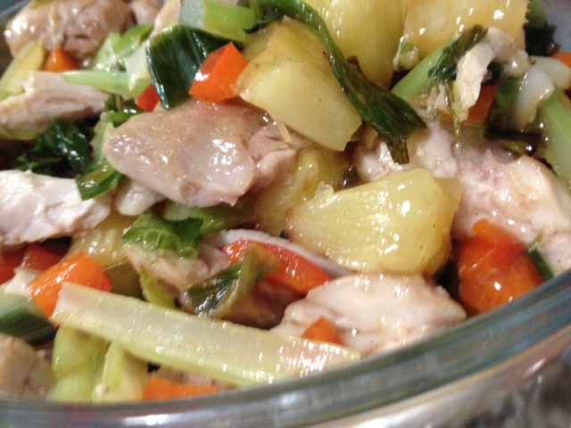 Chicken Stirfry with Broiled Pineapple