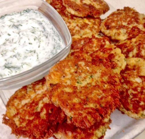 Salmon Croquettes with Garlic Dill Dressing