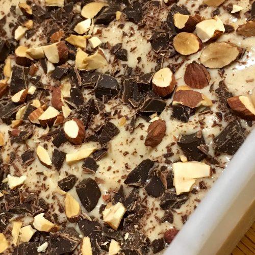 Vegan Almond Banana Ice Cream with Chocolate Pieces